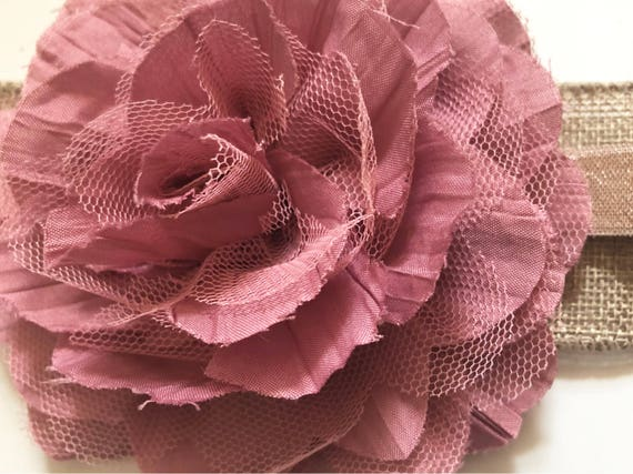 Mauve Pink Flower Hair Clip,  Chiffon Mesh Flower, Ivory, Grey, Mint Flower Hair Clip, Bridal HairClip, Flower Girl Hair Clip, Floral Clip