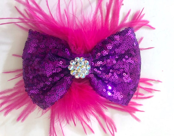 Dance Costume Hair Clip, Custom Dance Bow for Girls, Silver Hair Bow, All colors Dance Hair Bows, Pink, Black,Purple,Red, Gold, Fuchsia Clip