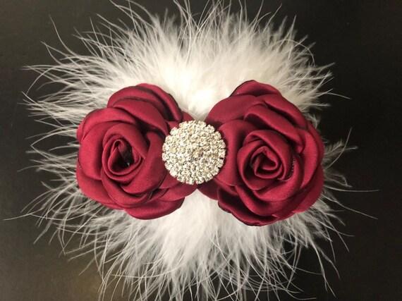 Burgundy White Flower Hair Clip,Red Wine Hair Clip,Flower Girl Clip,Maroon White Clip, Wine Black Clip,Maroon Clip,Flower Girl, Bridal