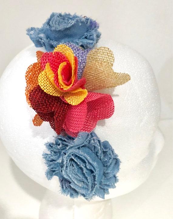Flower Headband, Fabric Flower Headband. Girl Headband, Blue Denim Hairband, School Headband, Burlap Flower Headband, Portrait  photo