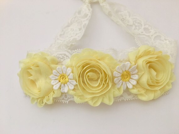 Yellow Floral Headband, Yellow Lace Headband, Yellow Shabby Daisy Flower, Ivory Lace Headband Hair Tie ,Newborn- Adult, Summer Headban