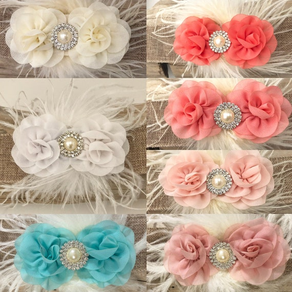 Blossom Flower clip, All Colors, Pale Pink Blush, White, Ivory, Coral, Lt Coral, Mint Flower Hair Clip, Feather Hair Clips,Flower Girl Clips
