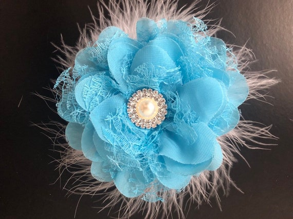 Back to School Blue Hair Clip, Blue Floral Clip, Baby Blue Floral Clip, Wedding Hair Accessries