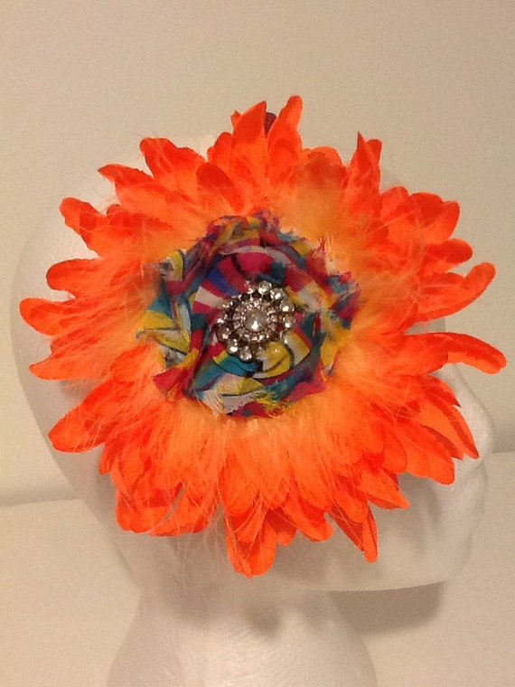 Neon Orange Flower Headband.Neon Rainbow Hair Flower Headband/ Hair Flower Clip, Dance Costume Headband. Fancy Girl BoutiqueNYC Custom made.