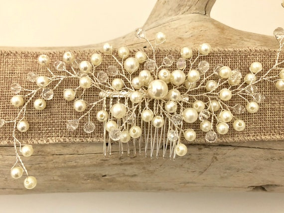 Pearl Hair comb, Bridal Pearl Hair Comb, Bridal Crown, Crystal Comb,  Pearl Bridal Hair Comb, Wedding Hair Jewelry, Vintage Wedding Hair Com
