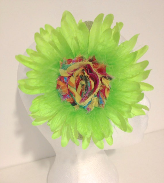 Neon Green Flower Fascinator Headband. Neon Flower Headbands, Fancy Girl BoutiqueNYC custom made Fascinator Headbands.