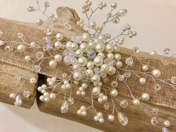 Pearl Hair Comb, Bridal  Hair Comb, Crystal Hair Comb, Silver Hair Comb Crystal, Bridal Crown, Wedding  Hair Jewelry, Wedding Hair Comb