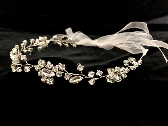 Flower Crown Wreath, Silver Crystal Crown Wreath, Communion Crown Wreath, Crystal Crown Wreath, Wedding Crown Wreath