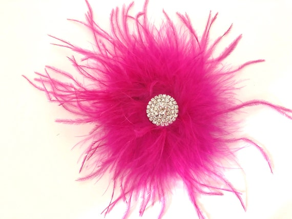 Dance Costume Hair clips, Hot Pink Feather Clip,Navy Feather Clip, Burgundy Feather Clip, Crystal Hair Clips,Costume Headpiece, All Colors