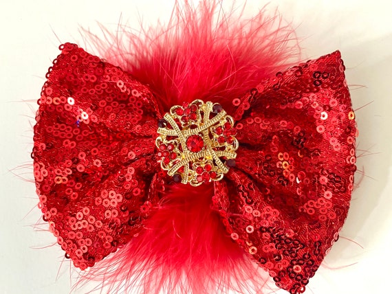 Red Christmas Bow, Red Hair Bow, Crystal Ruby Red Gold Hair Clip, Red Crystal Hair Bow, Christmas Hair Bows, All color Sequin Hair Bows