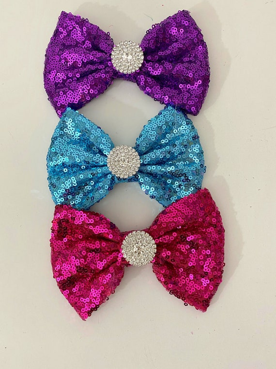Dance Hair Clips, Crystal Hair Bows, Purple Hair Bow, Turquoise Bow, Hot Pink Bow, All colors, Red Black Silver Gold Royal Blue Black Neon