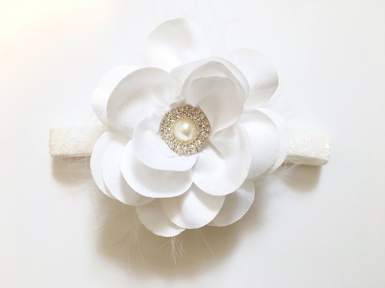 White Flower Baby Headband Hair Clip White Ivory Navy Peach