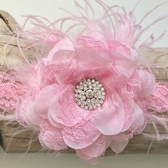 Pink Floral Baby Headband, Pink Feather Headband,Pink Floral Headband, White Floral Headband, Baby  Shower Gift, Flower Girl Accessories