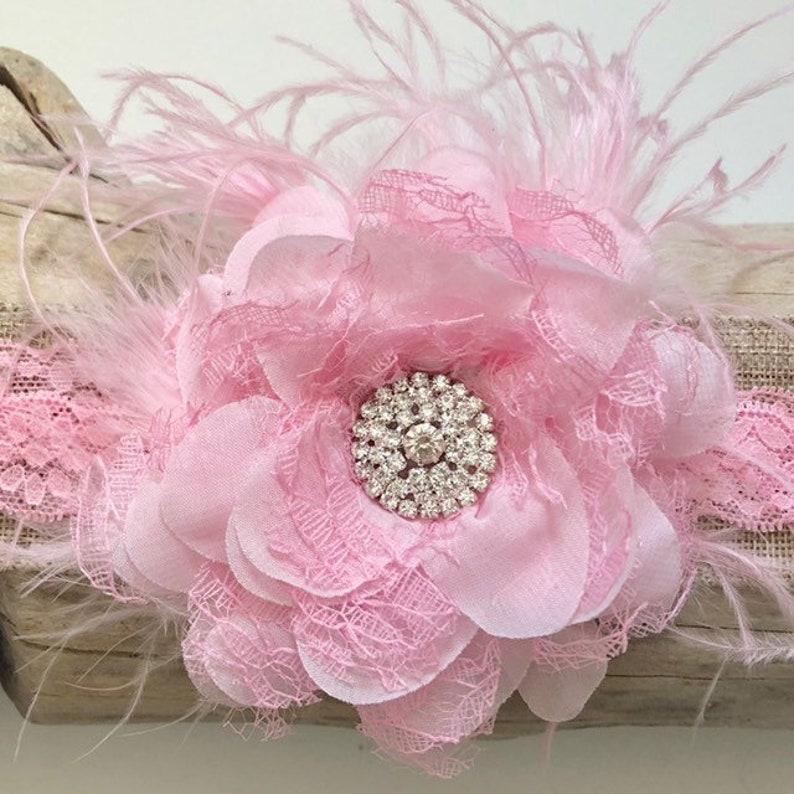 Newborn Baby Girl Lace Pearl Flower Headband Ostrich Feather Hairband Headwear