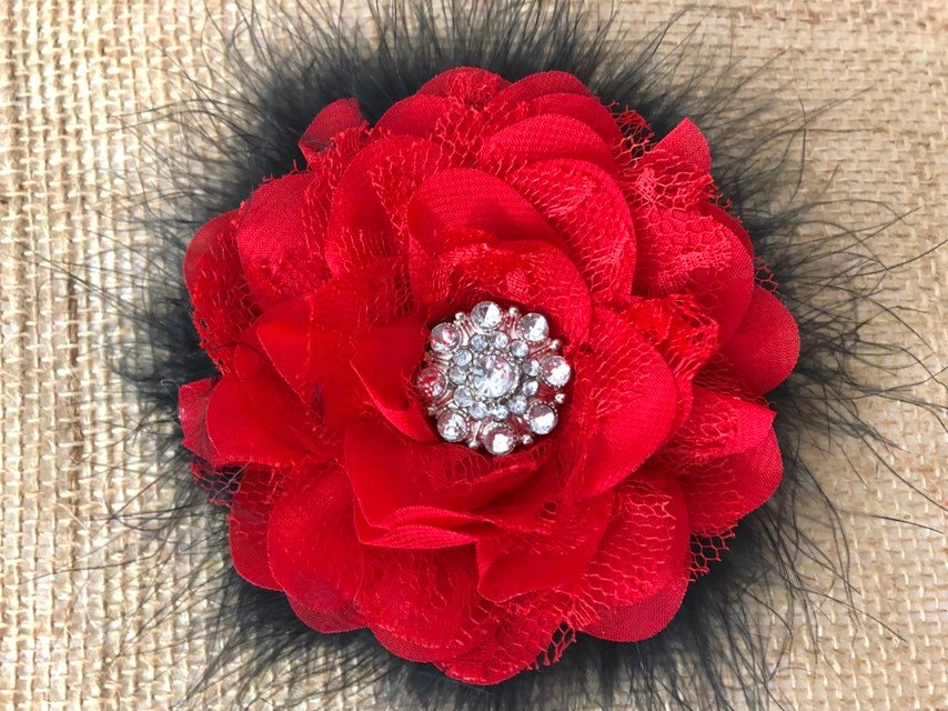 40311f9b8 Red Floral Hair Clip, Red and Black Clip, Red White Clip, Bridal Hair ...