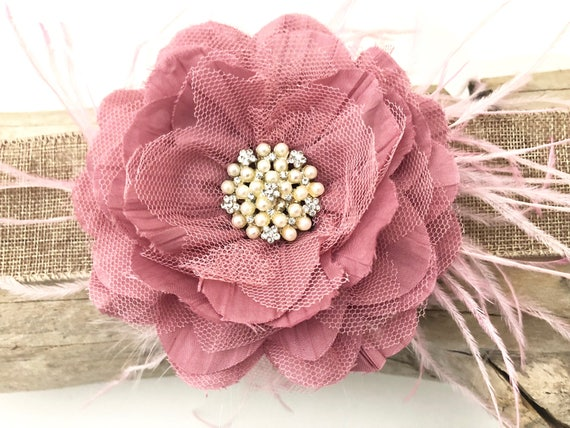 Dusty Pink Hair Clip, Rose Pink Flower Hair Clip, Pink Flower Lace Headband, Bridal Hair Clip, Ivory, Grey, Mint Hair Clip,