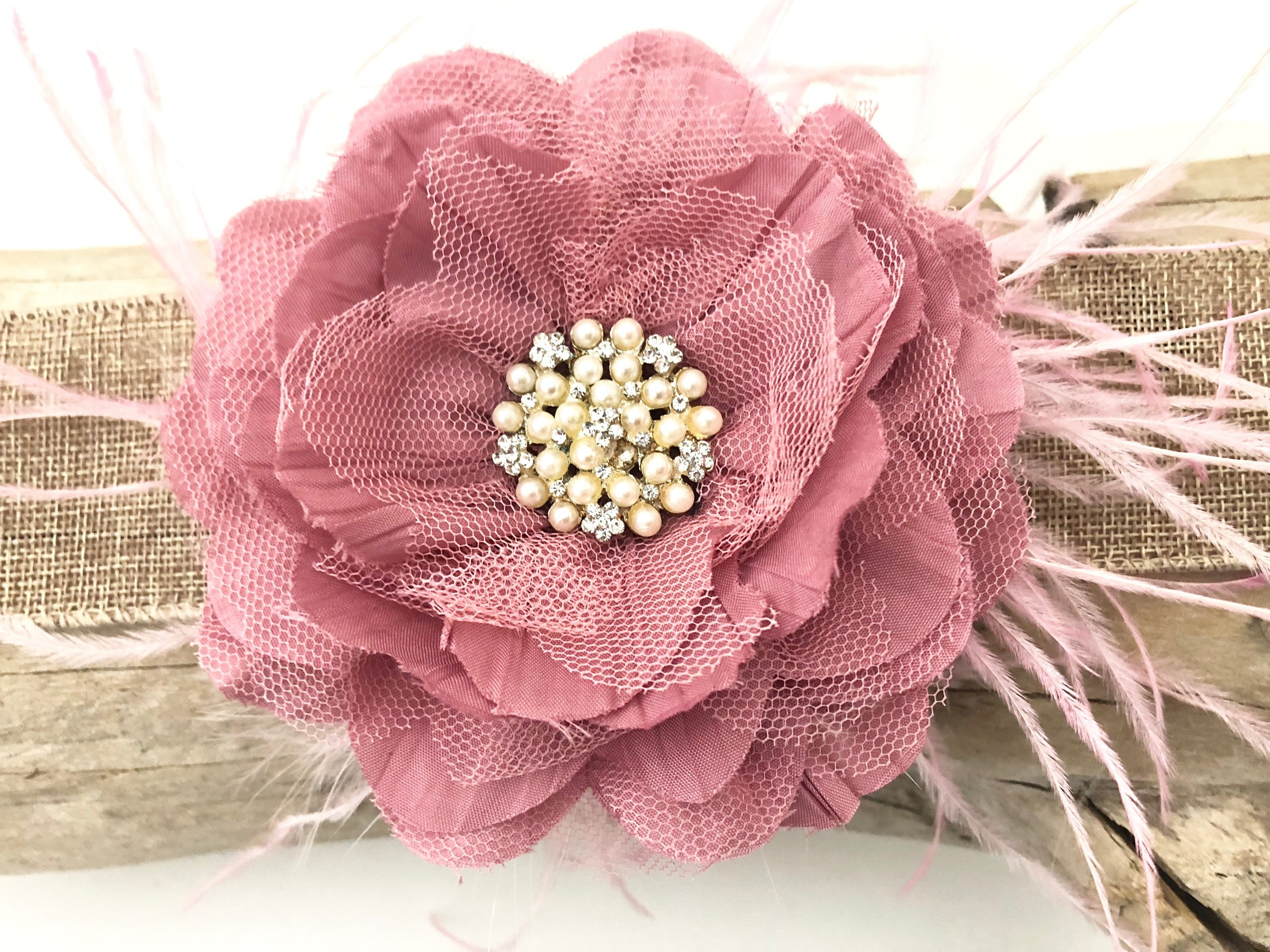 Dusty Pink Flower Clip Soft Pink Flower Hair Clip Pink Etsy