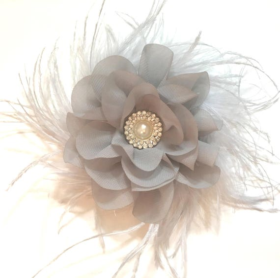 Gray Flower Hair Clip, Bridal Hair Clip, Flower Girl Hair Clip, Gray Feather Hair Clip, Silver Feather Flower Hair Bridal Hair Clip,