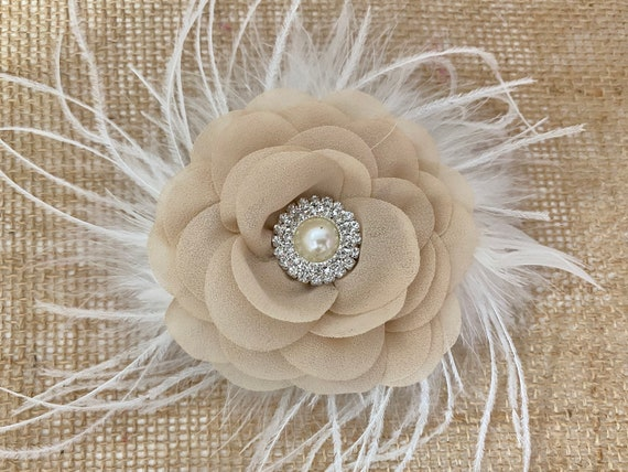 Nude Hair Clips, Beige Hair Clips, Wedding Flower Hair Clips, Ivory Flower Clips, Bridal Flower Clips,Pink,Coral, Blush,Dusty Rose, Hot Pink