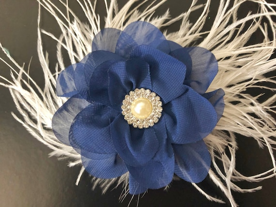 Navy Flower Clip, Blue and Ivory Clip, Ivory Blue Feather Hair Clip, Derby Hat Clip,All Colors, Red, Silver, Ivory, White Flower Clips