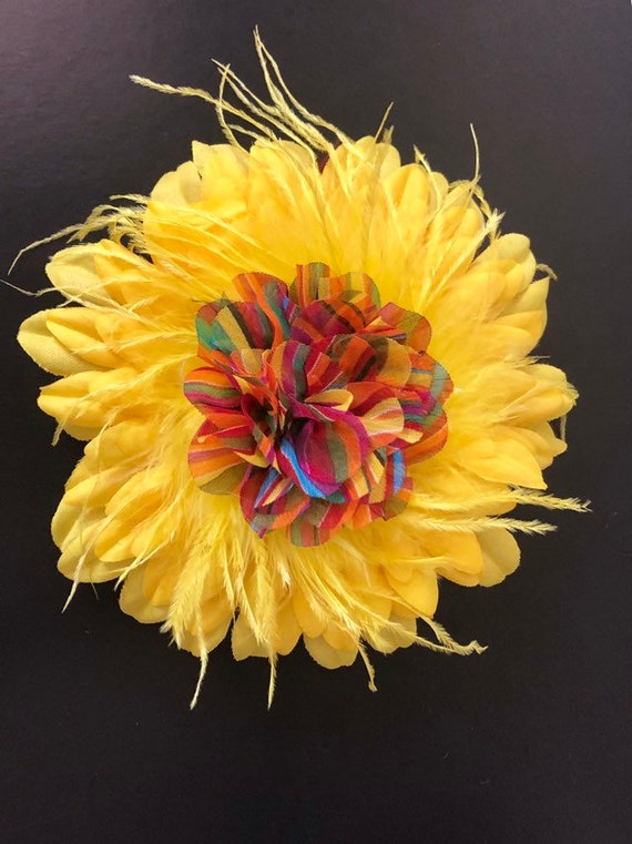 Sunflower Hair Clip, Yellow Rainbow Hair Clip, Derby Hat Clip, Rainbow Pride Hair Clip, Big Yellow Flower Clip, Yellow Feather Floral Clip