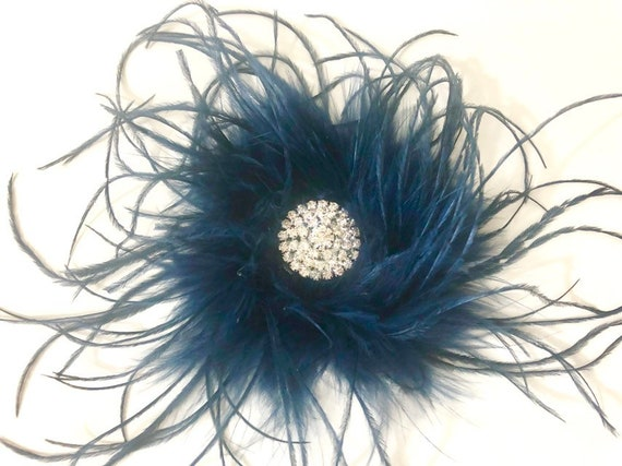 Blue Feather Clip, Blue Fascinate, Wedding Fascinator,Navy Hair Clip, Burgundy Clip, Black Feather Hair Clip, Black Clip, Red Wine Hair clip