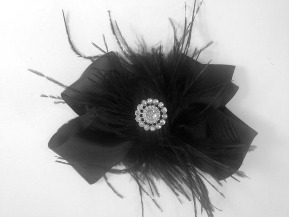Black Feather Hair Bow, Dance Costume Hair Piece, Burlesque. Fancy Girl BoutiqueNYC custom Designs.