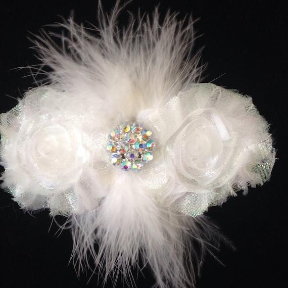Dance Costume Hair Clip, White Glitter Hair Clip, Glitter Flower Feather Clip,Dance Costume Hairpieces, Flower for Hair, All Colors Dance