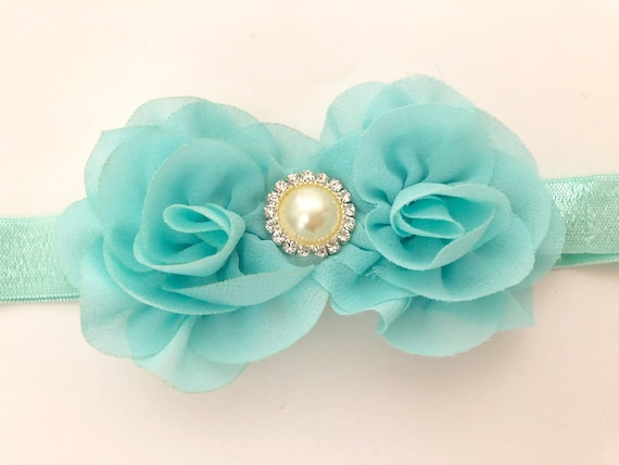 Mint Baby Headband,Baby Mint Headband, White, Coral, Ivory, Pale Pink, Blush Flower Headband, Newborn-Toddler Headband