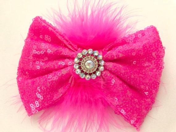Dance Costume Hair piece, Bubble Gum Pink Bow, Hot Pink Bow, Pink Feather Clip, Hot Pink Bubble Gum Hair Bow, Dance Costume