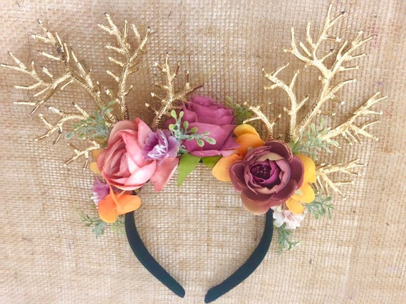 Antler Crown, Flower Crown,Adult Deer Antler Gothic Crown Headband,Flower Crown Adult, Christmas Reindeer Antler Headband, Gold Antlers