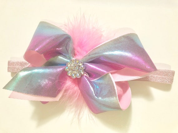 "Baby Headband, Pink Toddler Headband, Pink Metallic Hair Bow Headband, 6"" Hair Bow, Baby Headband, Baby shower gift for girl"