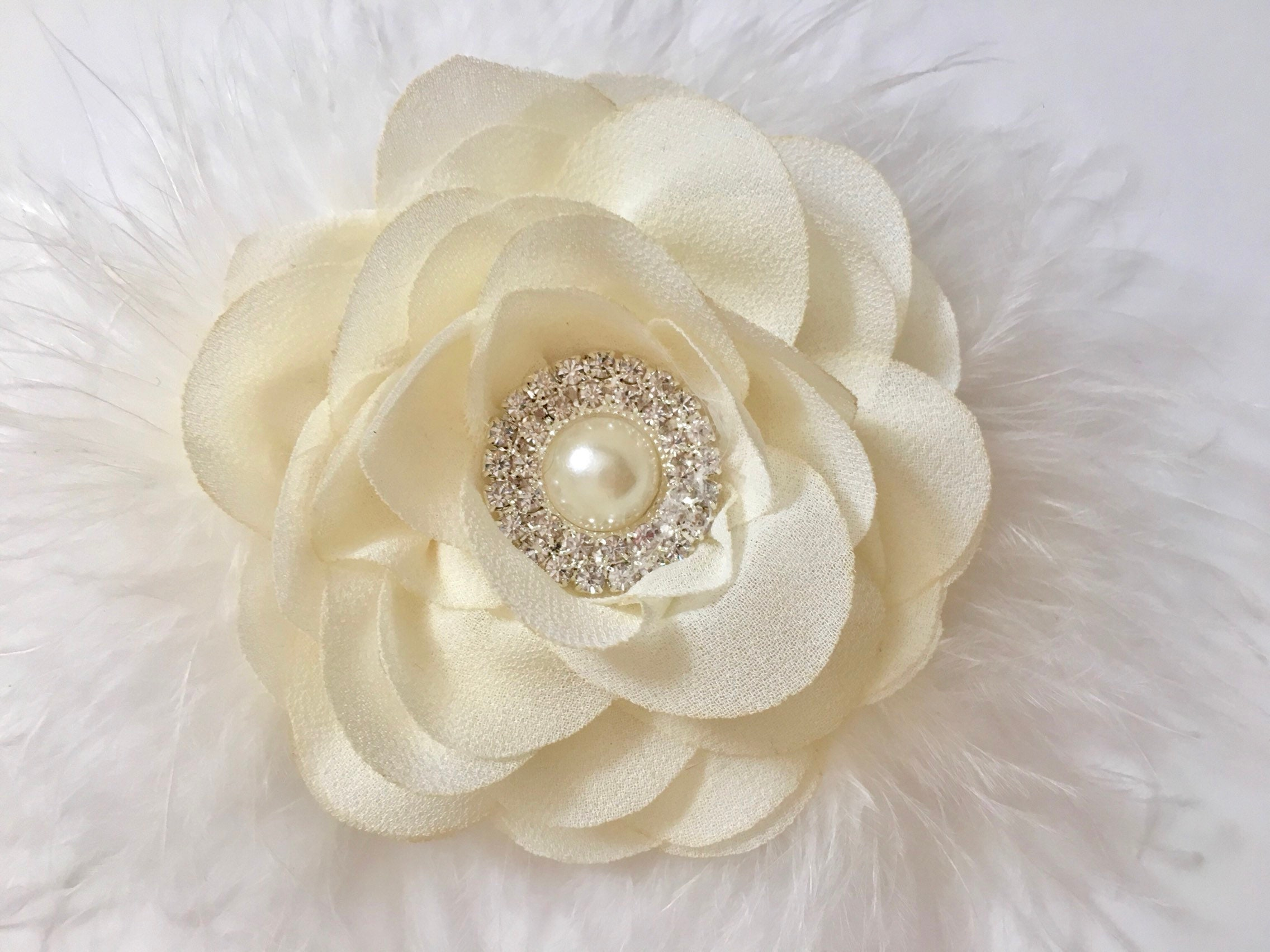 Ivory Flower Clip Holiday Clip Flower Girl Ivory Clip Holiday