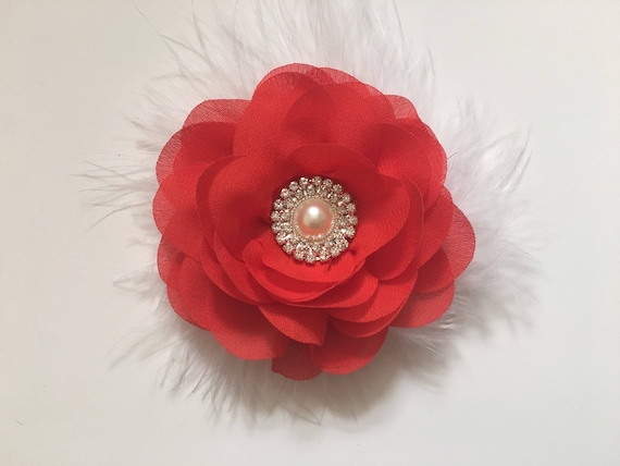 Flower Hair Clip, White and Red Hair Clip, Red Black Hair Clip, Bridal Hair Clip, Flower Girl Hair Clip, Portrait photo
