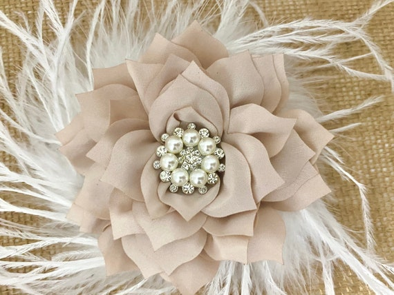 Christmas Hair Bow, Ivory Hair Bow, Red Bow, Green Bow White, Burgundy,Taupe, Dusty Pink Rose, Purple, Ivory, Lilac Flower Feather Hair Bows