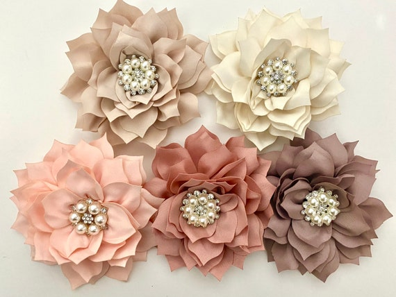 Wedding Flower Hair Clips, White Floral Hair Clip, Red Hair Clip, Taupe, Dusty Pink Rose, Ivory Crystal Pearl Wedding Hair Clips