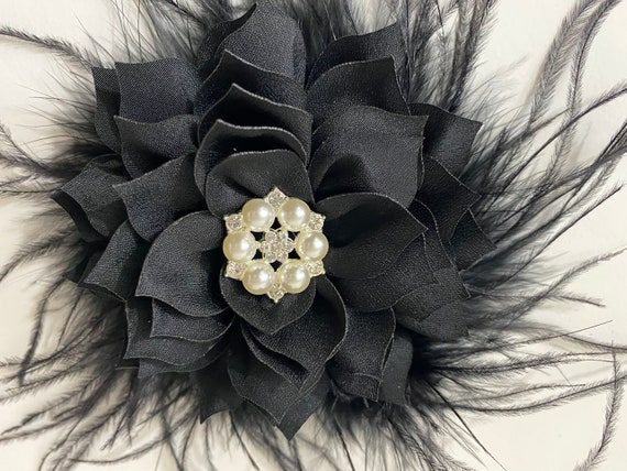 Black Hair Clips, Black Floral Clips, Crystal Hair Clips, Feather Flower Clips, Black Fascinator Clips, Customize Hair Clips, All Colors
