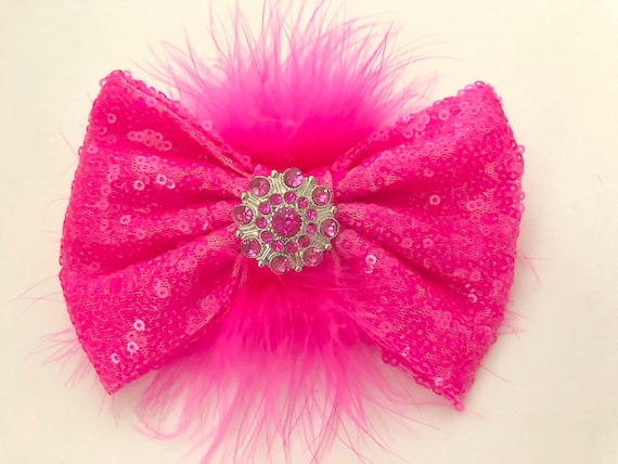 Neon Hair Bows, Neon Pink Bow, All Colors, Silver, Gold, Red, Black Feather Clip, Marabou Bow, Dance Costume Custom Hair Clips,