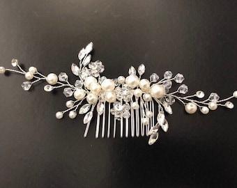 Pearl Hair comb, Bridal Hair Comb, Wedding Headpiece,Bridal Hair comb, Vintage Wedding Comb, Crystal Pearl Bridal Comb, Wedding Hair jewelry