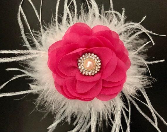 Pink Floral Hair Clip, Fushia Flower Girl Hair Clip, Hot Pink Pearl Clip, Baby Headband, Bridal Hair Accessories, Easter Bow,
