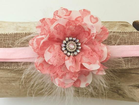 Peach Floral Headband, Baby Headband, Pink Coral  Headband, Coral Lace Pink Chiffon Flower Marabou Baby Headband, Flower Girl Clip, Newborn