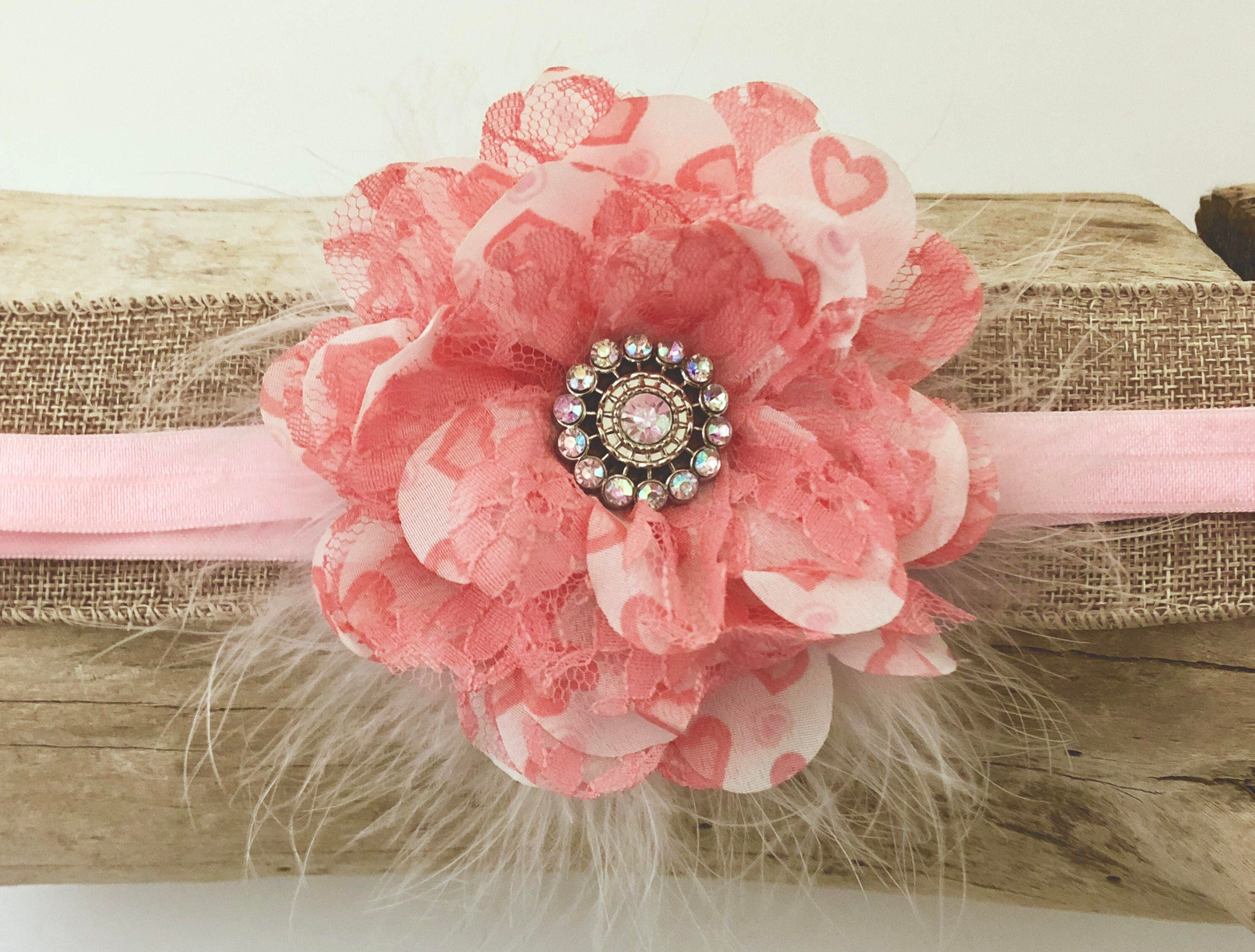 Pink Coral Flower Headband Coral Lace Pink Chiffon Flower Marabou