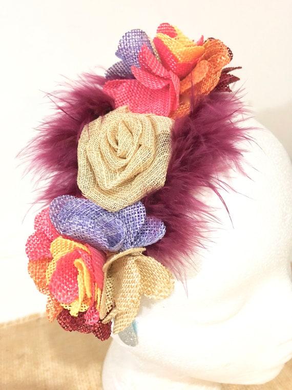 Flower Girl Headband, Rustic Headband, Burgundy Burlap Flower Headband, Burlap Fabric Flower Headband, Fall Fashion