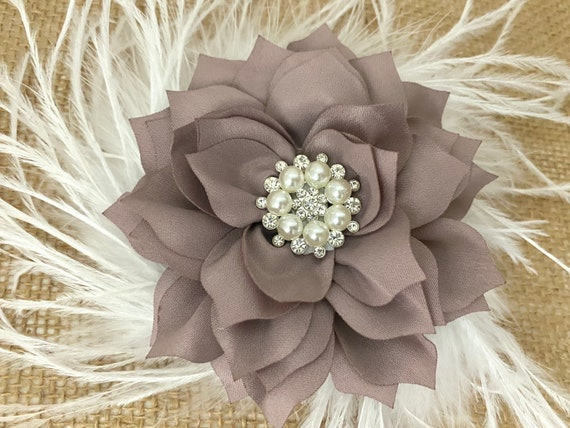 Taupe Flower Clip, Floral Hair Clips,  Burgundy, Red, Green, White, Blush, Dusty Pink Rose, Purple, Ivory, Lilac Flower Hair Clips, Wedding
