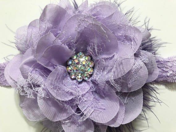 Lavender Flower Headband, Lilac Chiffon Lace Flower Headband, Baby Headband, Purple Lavender Flower Girl Headband, Easter Hair Flower Clip