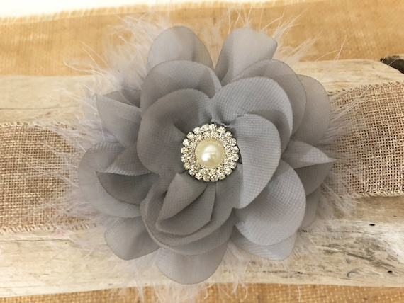 Floral Hair Clips, All colors, White Flower clip,Navy Flower Clip, Grey, Pink, Red Chiffon Flower Clip,Flower Girl Hair Accessories