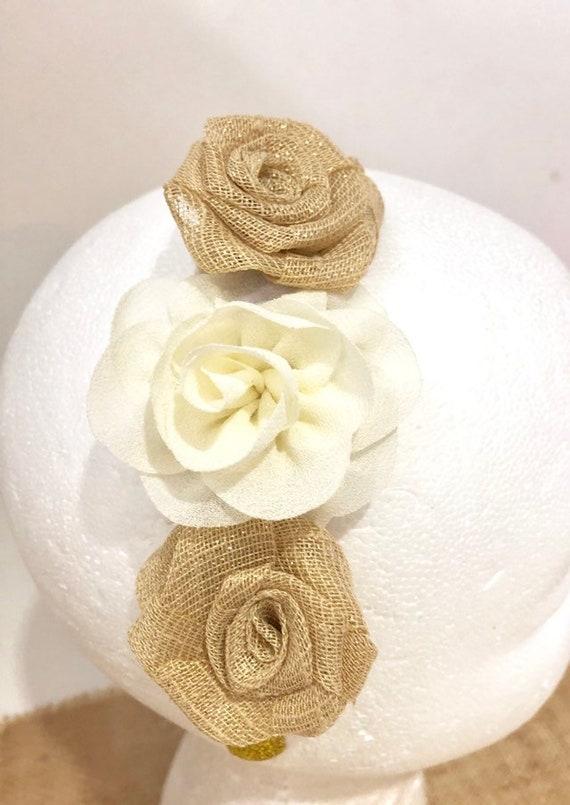 Rustic Wedding Headband, Flower Girl Rustic Flower Crown, Ivory Beige Tan Flower Girl Headband