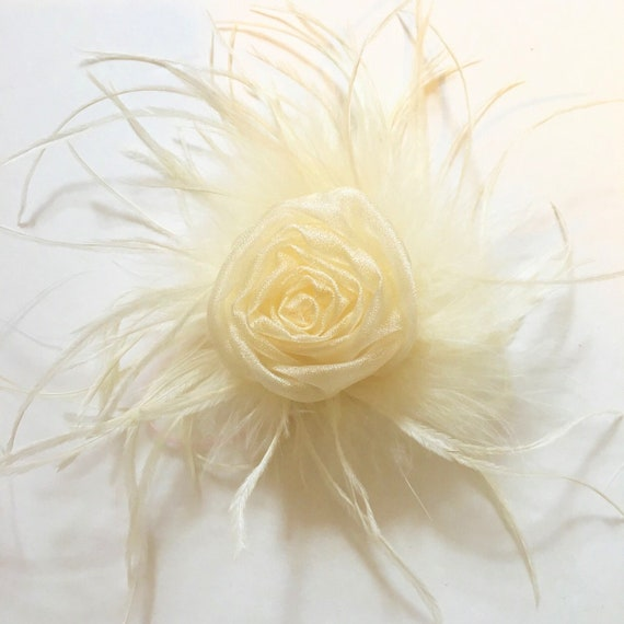 Gold Flower Clip Girl, Ivory Gold Clip, Rustic Hair Clip, Rustic Flower Clip, Feather Clip, Flower Girl Clip, Bridal  Clip, Holiday Clip