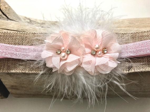Pink Headband, Soft Pink Baby Headband, Baby Headband, Flower Girl Headband, Baptism Headband, Baby Girl Flower Hairband,