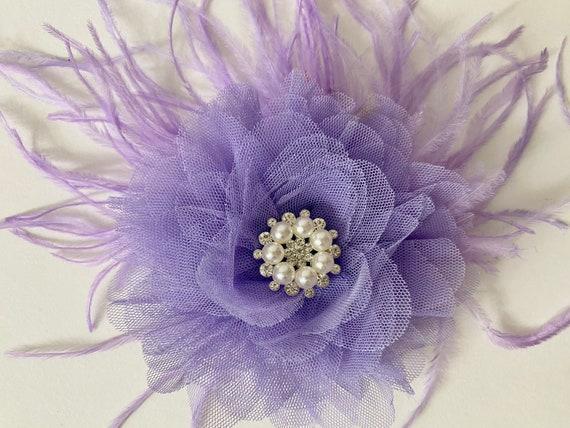 Lavender Flower Hair Clip, Lilac Flower Clip, Wedding Fascinator, Brides Maid Flower Girl Hair Clip, Kentucky Derby Feather Fascinator Clip
